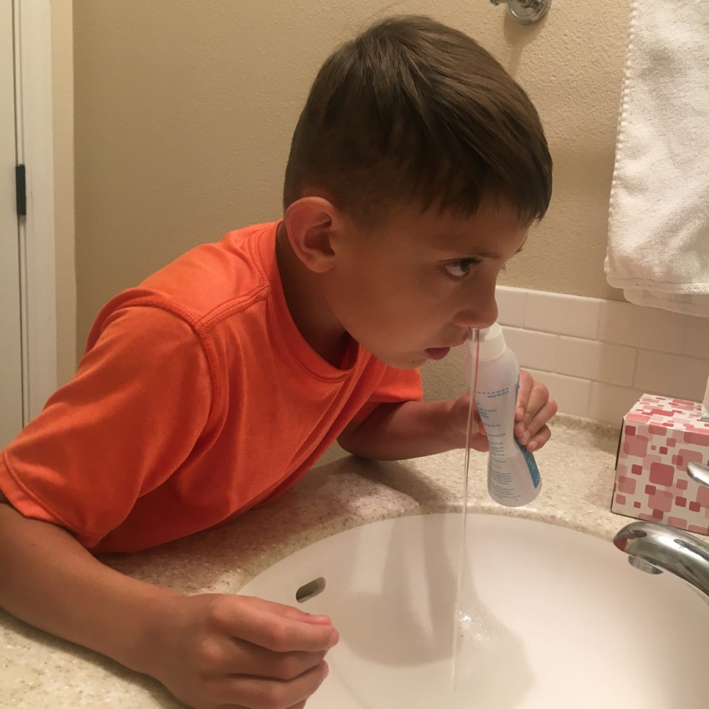 9 year old uses nasal saline rinse.