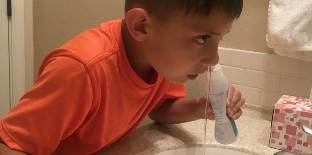 9 year old uses nasal saline rinse.